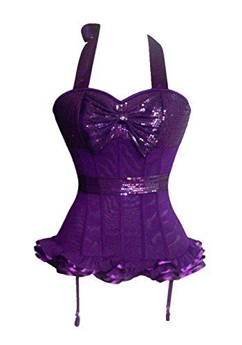 ZAMME Cinturón de satén de las mujeres Brocade Floral Top Bustier Lace Up Bodyshaper Shapewear Cintura Morado