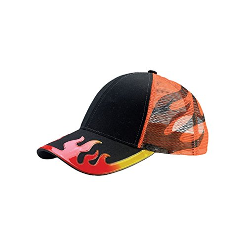 Hot Rod Flame Trucker Mesh Baseball Cap (One Size, Black ()