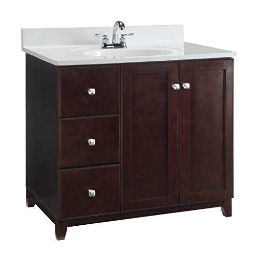 Design House 547034 Shorewood Furniture-Style Vanity Cabinet with 2-Doors and 2-Drawers, 36-inches by 21-inches, Espresso - Furniture Style Vanities