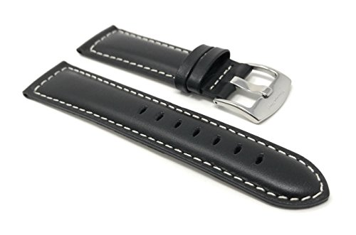 Extra Long, 22mm Black Smartwatch Band Strap fits Motorola 360 (46mm Case), Samsung S3 Classic, Fossil Q & Many More, Leather, White (Accomplice White Leather)