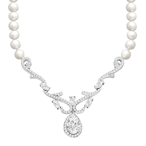 5 ct White Topaz and Freshwater Cultured Pearl Necklace in Sterling Silver by Finecraft
