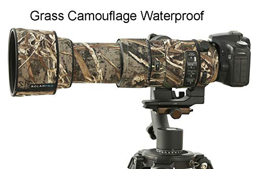 ROLANPRO Grass Camouflage Nylon Waterproof Lens Rain Cover for Sigma 60-600mm f4.5-6.3 DG OS HSM Sports Lens Protective Case Guns Clothing