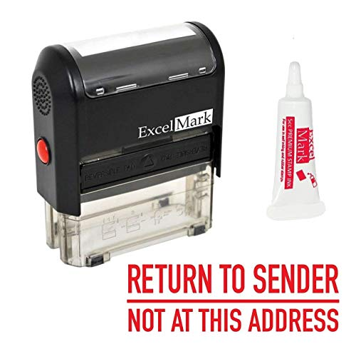ExcelMark Return to Sender NOT at This Address Self Inking Rubber Stamp - Red Ink (A2359) - Large Size (Stamp Plus 5cc Refill - Sender Rubber