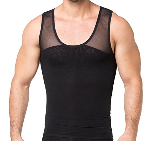findthem3859 Gynecomastia Chest Compression Shirt to Hide Man Boobs Moobs Shapewear Slimming Body Shaper Vest (Black, XXL)