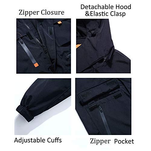 Yozai Jacket for Men, Men's Outdoor Sports Hooded Windproof Jacket Waterproof Rain Coat Black L by Yozai (Image #3)