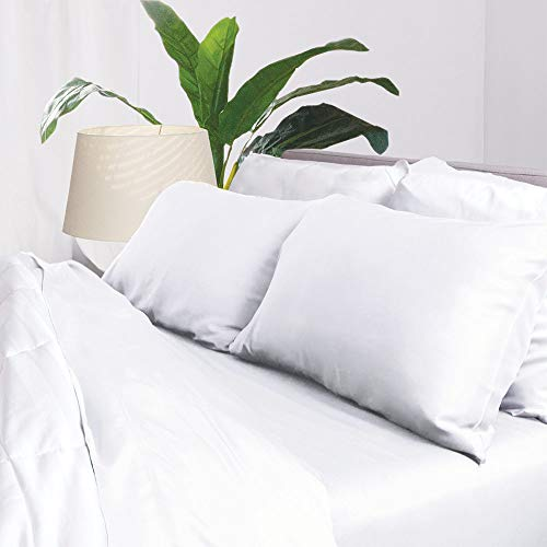 Aloha Soft Bamboo Sheets 4 Piece Bed Sheet Set - Includes Bed Sheets and Pillowcases - Lifetime Quality Guarantee (King, White)