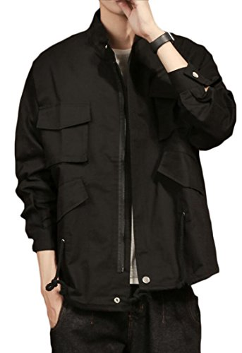 Generic Long Jacket Fashion Drawstring Mens Military Color Black Solid Sleeve Br15BxqSw