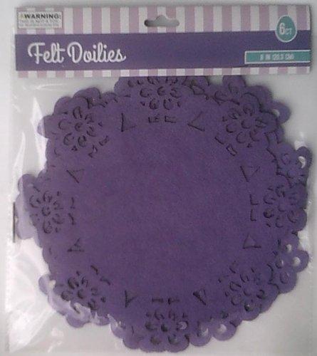UPC 876416133379, 6 Purple Felt Doilies - 8.125 x 8.125 Inches