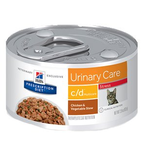 Hill'S Prescription Diet Multicare Stress Urinary Care Chicken & Vegetable Stew Canned Cat Food, 2.9 Oz, 24 Pk, Small (Best Food For Struvite Crystals In Cats)