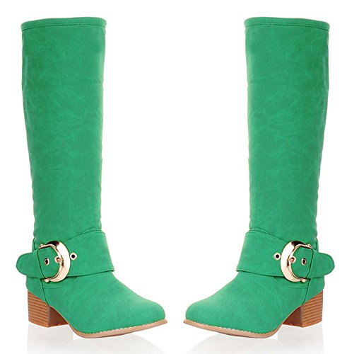 Aisun Womens Fashion Buckle Strap Round Toe Pull On Mid Block Heel Under The Knee High Boots Shoes Green k8D6G