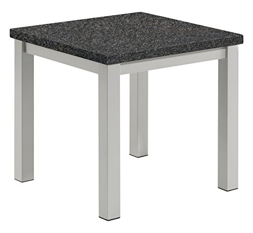 Oxford Garden TVETL Powder Coated Aluminum Frame Lite-Core Granite Charcoal Top Travira End Table (Aluminum Outdoor End Table)