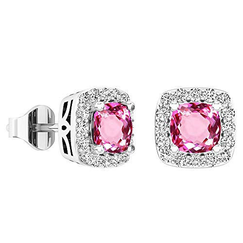 Dazzlingrock Collection 5 MM Each Cushion Lab Created Pink Sapphire & Round Diamond Ladies Stud Earrings, Sterling Silver (Lab Created Pink Sapphire Ring Sterling Silver)