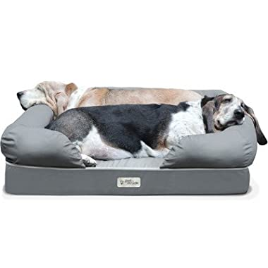 PetFusion Ultimate Dog Bed & Lounge. (Large Gray, 36 x 28 x 9.5 ). Premium Edition w/ Solid 4  Memory Foam