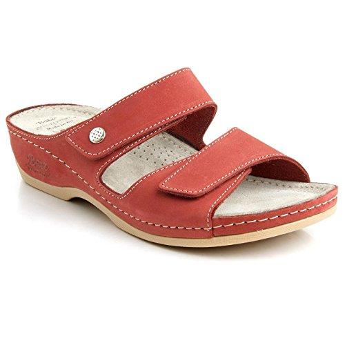 Batz FC06 Sandalias de cuero para mujer Rojo