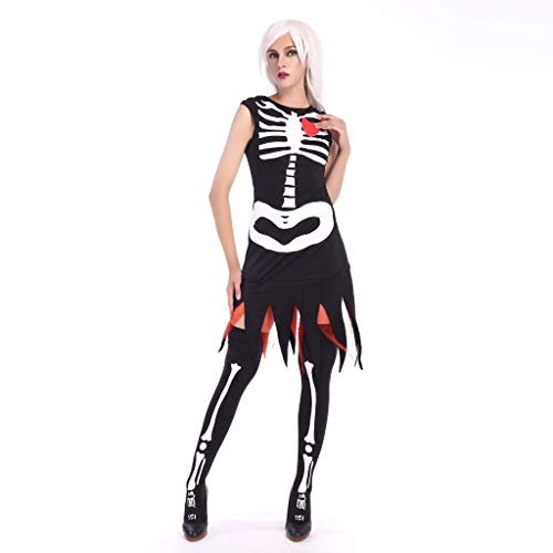 LODDD Women's Bone Print Fashion Sling Slim Halloween Costumes Vintage Dress Tops Black