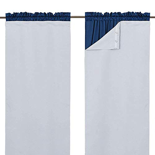 Bare Set Sheer (NICETOWN White Curtain Liner Panels - Black Out Drapes Liners for 63 inch Curtains, Thermal Insulated Curtains Liner for Windows (Set of 2 Panels, Each is 27