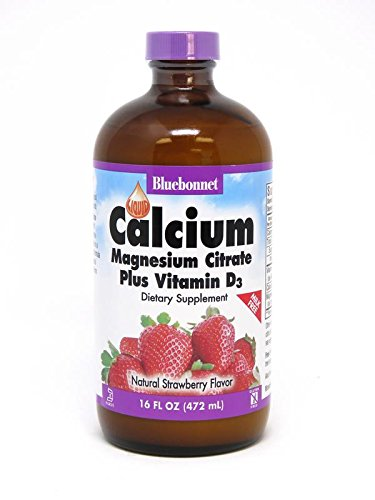 BLUEBONNET NUTRITION LIQUID CALCIUM MAGNESIUM CITRATE PLUS VITAMIN D3 STRAWBERRY, 16 ounce