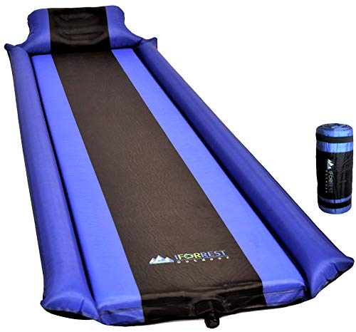 IFORREST Sleeping Pad with Armrest & Pillow - Ultra Comfortable Self-Inflating Foam Air Mattress is Ideal for Travel, Camping & Hiking, Backpacking, Cot, Hammock, Tent & Sleeping Bag! (Blue) (Blue)