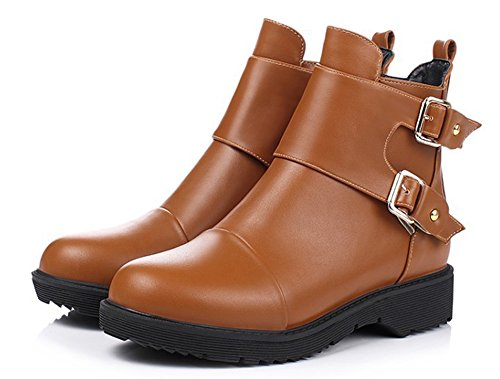 Aisun Womens Cool Antiskid Round Toe Buckle Strap Side Zipper Platform Dress Martin Ankle Boots Low heel Booties Shoes Brown jDti0NI5
