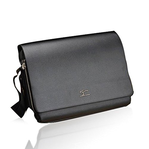 Pixnor Men's Genuine Leather PU Authentic Kangaroo Kingdom Shoulder Bag Messenger Bags Size S Black