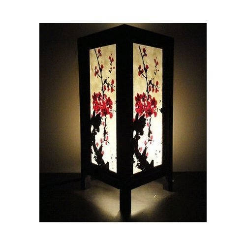 Thai Vintage Handmade ASIAN Oriental Japanese Sakura Cherry Blossom Tree Branch Art Bedside Table Lamp