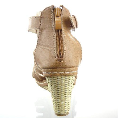 Kickly-Sandale modo zapatillas, diseño de zapato de tacón de plataforma tobillo mujeres cuerda compensado plataforma de 9,5 CM, color marrón