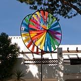 Windspiel - Magic Wheel Twin 35 - UV-beständig und wetterfest - Windräder: 2xØ35cm, Höhe: 97cm - inkl. Fiberglasstab