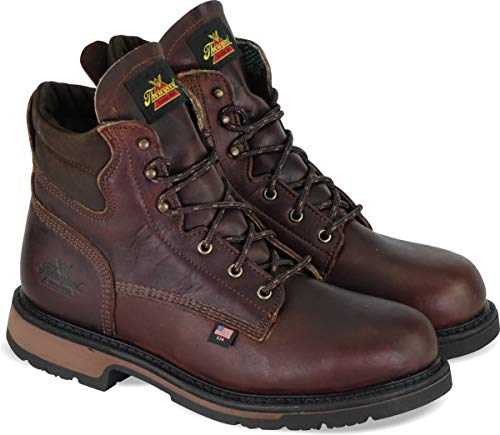 "Thorogood 804-4203 Men's American Heritage 6"" Classic Plain Toe, Safety Toe Boot, Black Walnut - 14 D(M) US"