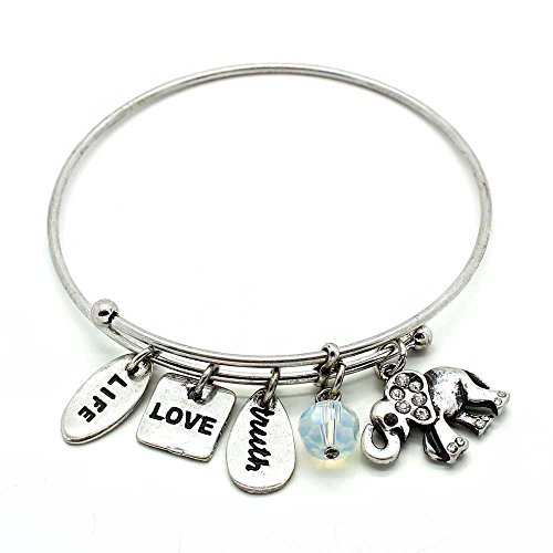 Elephant Glass Charm (KIS-Jewelry Symbology 'Elephant' Bangle Bracelet, Silver Plated - Expandable Wire Charm Bracelet Accented with Crystal Stones and One Shiny Glass Bead - Perfect Jewelry for Fashion)