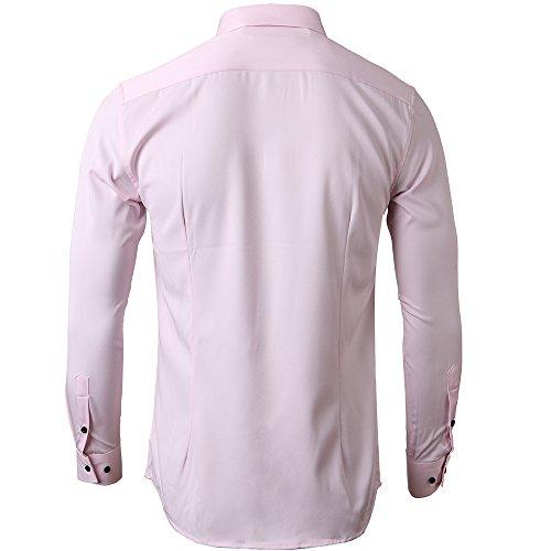 Para Múltiples Y Casual Hombre Slim Disponible Colores Ambos Rosa Camisa Fit Elástica Manga Elegir formal Larga 4wvqPOYWP