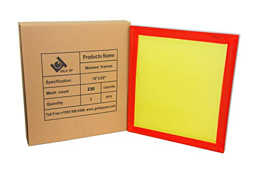 18 x 20 Inch Pre-Stretched Aluminum Silk Screen Printing Frames with 230 Yellow Mesh (2 Pack -