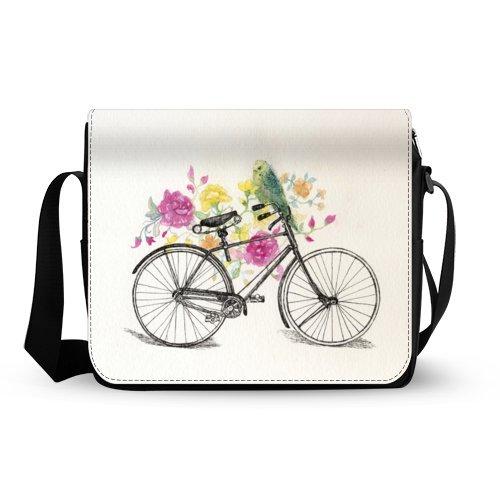 ヴィンテージ花柄自転車バイクwith Birdオックスフォード生地メッセンジャーショルダーバッグクロスボディ学校やビジネスバッグ   B00YC7RKZ0