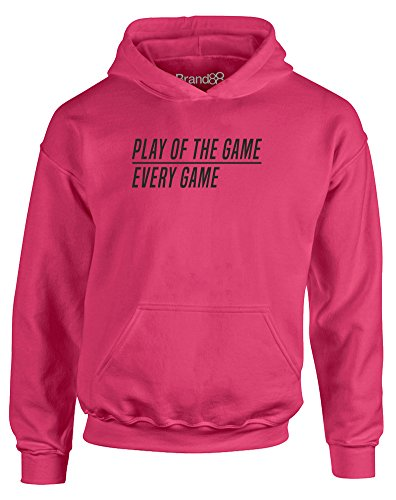 Play of The Game, Kids Hoodie - Hot Pink/Black 3-4 Years