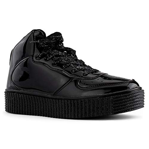 a7ba3b3e49d RF ROOM OF FASHION Women s Fashion High Top Lace Up Platform Sneakers  Creepers Flats Black Size.8