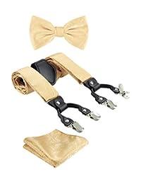 TIE G Paisley Suspender, Bow Tie, Pocket Square Set for Men's Tuxedo Suspenders : Adjustable Braces, Strong Enhanced 6 Clips (A Gold Paisley)