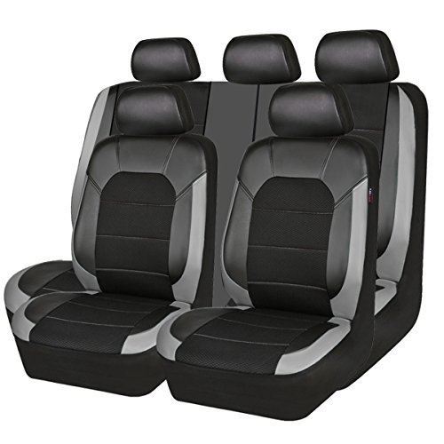 CAR PASS Leather and Mesh Universal Car Seat Covers,Airbag Compatible, for Sedans, Trunkcs,Suvs (11PC, Black and Grey)