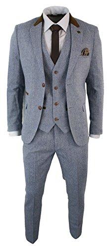 Mens 3 Piece Herringbone Tweed Light Blue Sky Brown Slim Fit Suit Vintage Retro