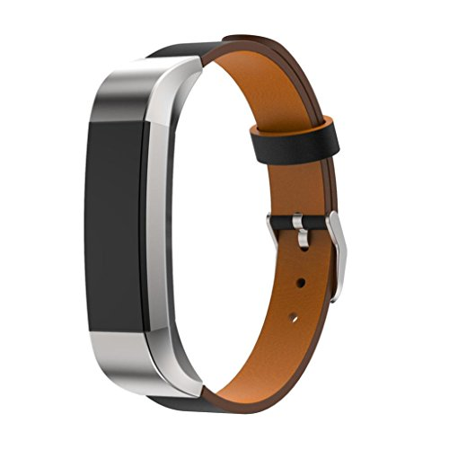 Smart Watch BandFUNIC Genuine Leather Band Strap For Fitbit Alta Tracker Luxury Bracelet Watch Black