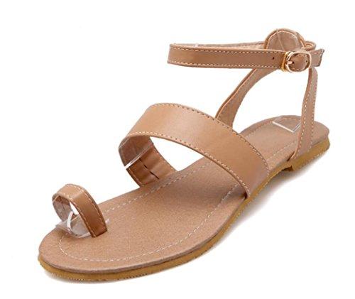 SHFANG Ladies Sandalias Verano Set dedo del pie ocio Velcro Beach Dew Toe Una palabra Correa tres colores apricot