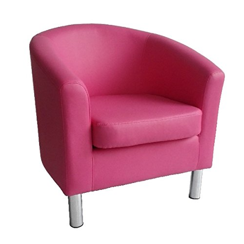 Designer Leather Tub Chair Armchair For Dining Living Room Office Reception (Pink) The Home Garden Store
