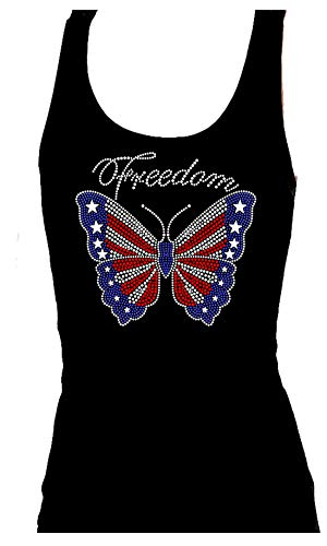 Butterfly Flag Rhinestone July 4th Veterans Day Womens Tank Top Tee Shirt (XXL) Black
