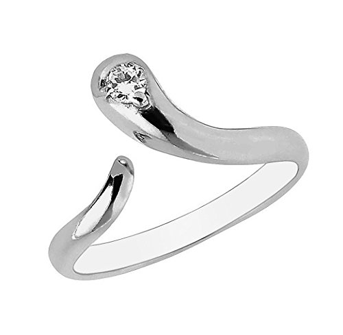 Ring White Gold Snake (Ritastephens 10k White Gold Snake Cubic Zirconia Adjustable Ring or Toe Ring)