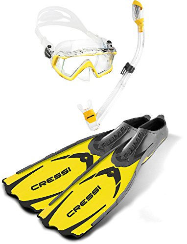 Cressi Adult Snorkeling Diving Set | Lightweight, High-Performance Fins, Wide View Silicone Mask, Dry Snorkel | Pluma Pano 3 Dry Set: Designed in Italy