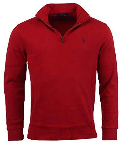 ns Half Zip French Rib Cotton Sweater (Red 2017,L) ()