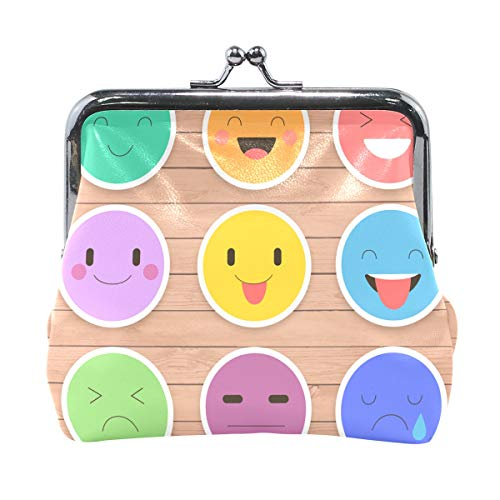 JERECY Funny Emoticon Emoji Coin Purse Leather Mini Clutch Pouch Wallet for Women Girls -