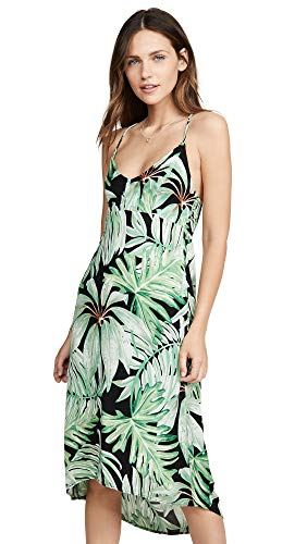 CHASER Women's Heirloom Wovens Cross Back Smocked Mini Cami Dress, Palm Print, Small