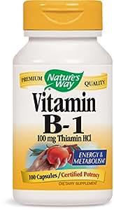 Nature's Way Vitamin B-1 100 Mg Thiamin Hci, 100 Capsules, 100 Count