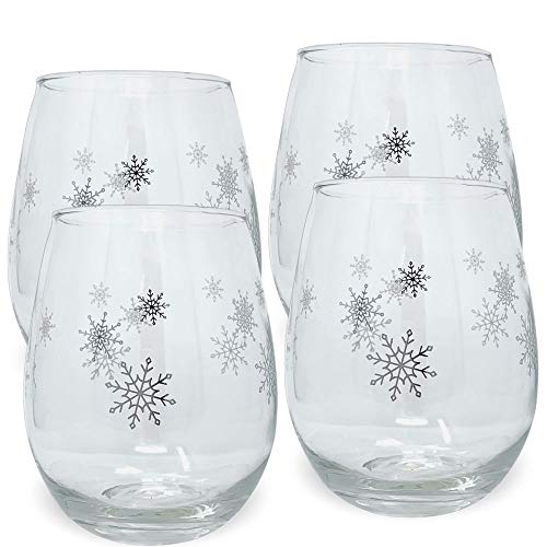 - Holiday Snowflake Wine Glasses - Set of 4 Stemless Wine Glasses - Seasonal Silver Snowflake Design - 14 oz