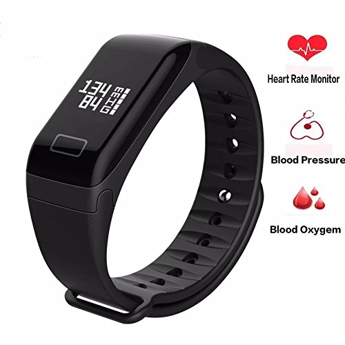 Paddsun Wireless Fitness Activity Tracker Smart Bracelet Watch Wristband Blood Pressure Heart Rate Calorie Tracker Pedometer Sport Sleep Monitor Waterproof for Android IOS Phone£¨Black£