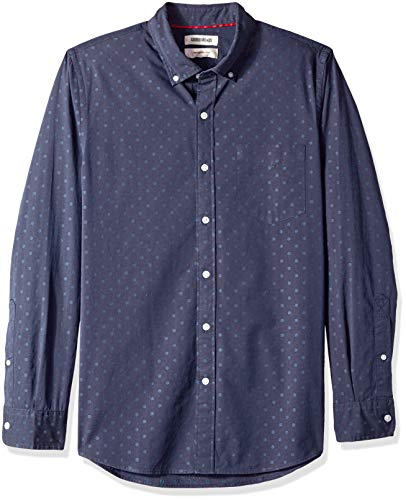 Goodthreads Men's Slim-Fit Long-Sleeve Dobby Shirt, -navy dot, Medium (Cotton Dobby Dot)